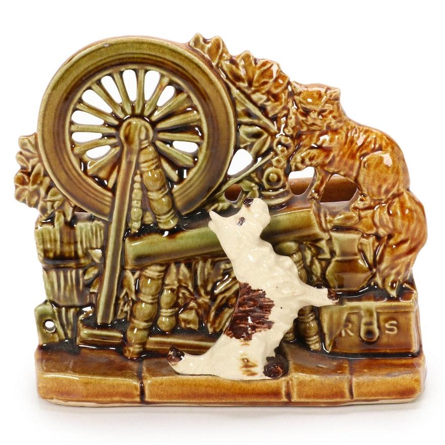 McCoy Pottery Spinning Wheel Ceramic Planter, Mid-20th Century