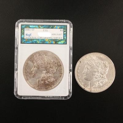 1881-O and 1885 Morgan Silver Dollars