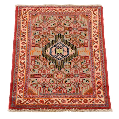 2'2 x 2'9 Hand-Knotted Persian Malayer Accent Rug, 1980s