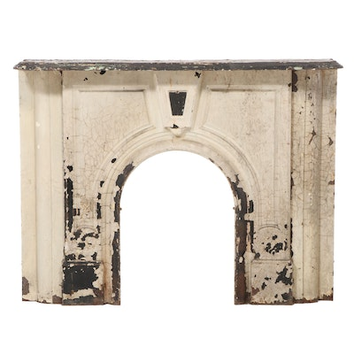 Victorian Painted Cast Iron Fireplace Surround with Mantel, Late 19th Century