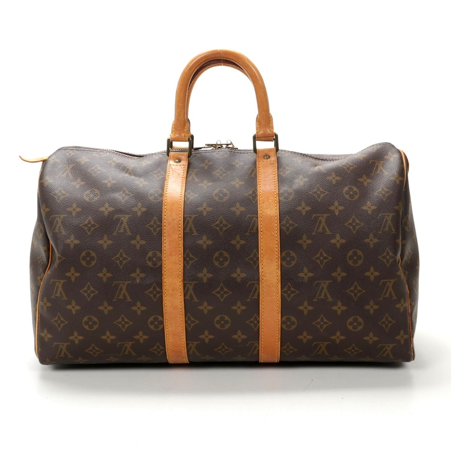 Louis Vuitton Keepall 45 Travel Bag in Monogram Canvas and Vachetta Leather