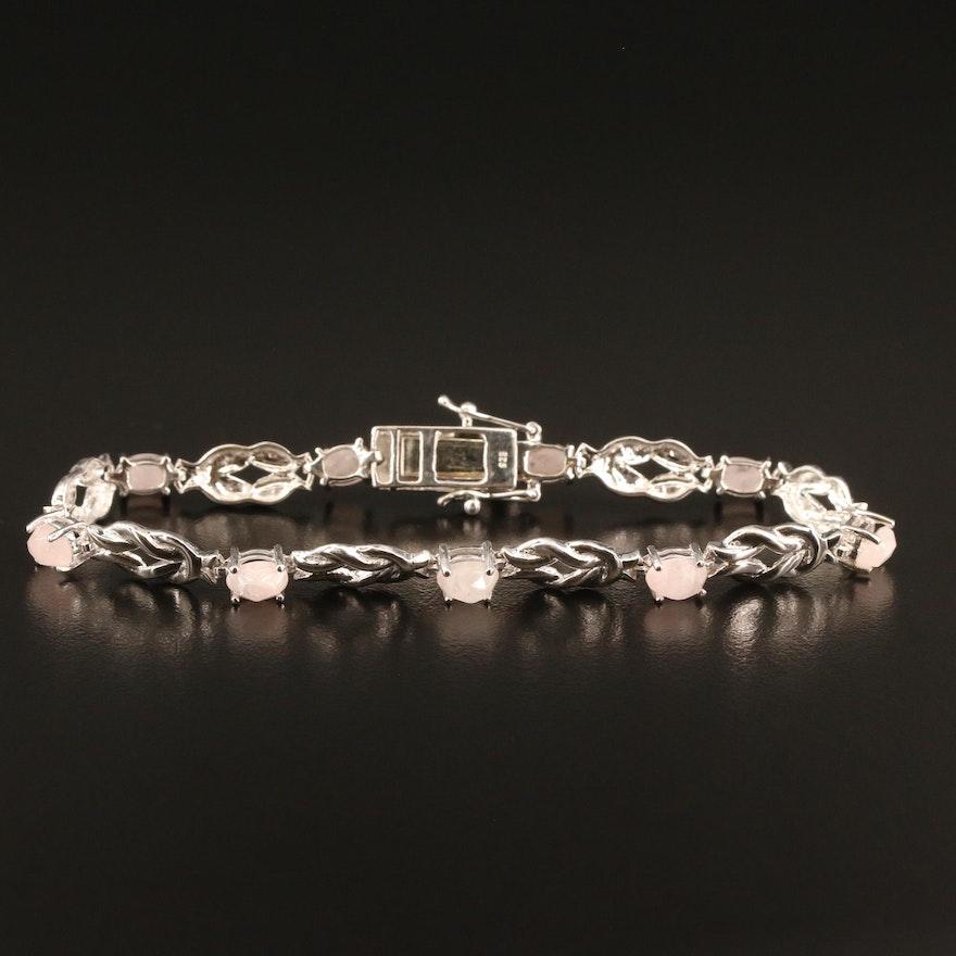 Sterling Rose Quartz Knot Link Bracelet