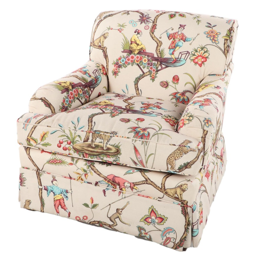 Upholstered and Skirted Armchair, Late 20th Century
