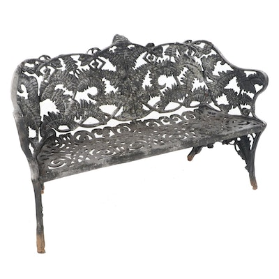 Cast Iron Foliate Motif Garden Bench, Late 20th Century
