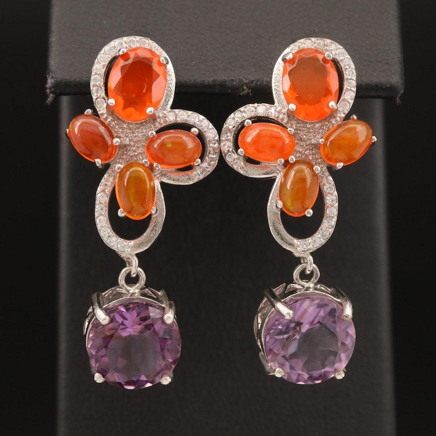 Sterling Amethyst, Opal and Cubic Zirconia Earrings