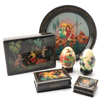 Palekh and Khofui Schools Hand-Painted Lacquerware and Other Decorative Items