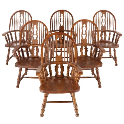 Six American Drew Oak Fiddle-Back Style Windsor Dining Armchairs