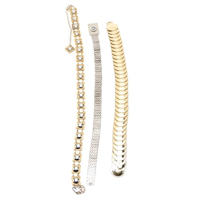 Gold and Silver Tone Base Metal Elastic and Chain Belts