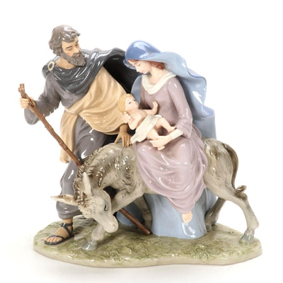 Porcelain Joseph, Mary & Baby Jesus Sculpture