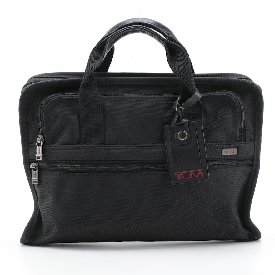 Tumi Alpha Business Travel Briefcase in Black Canvas and Leather