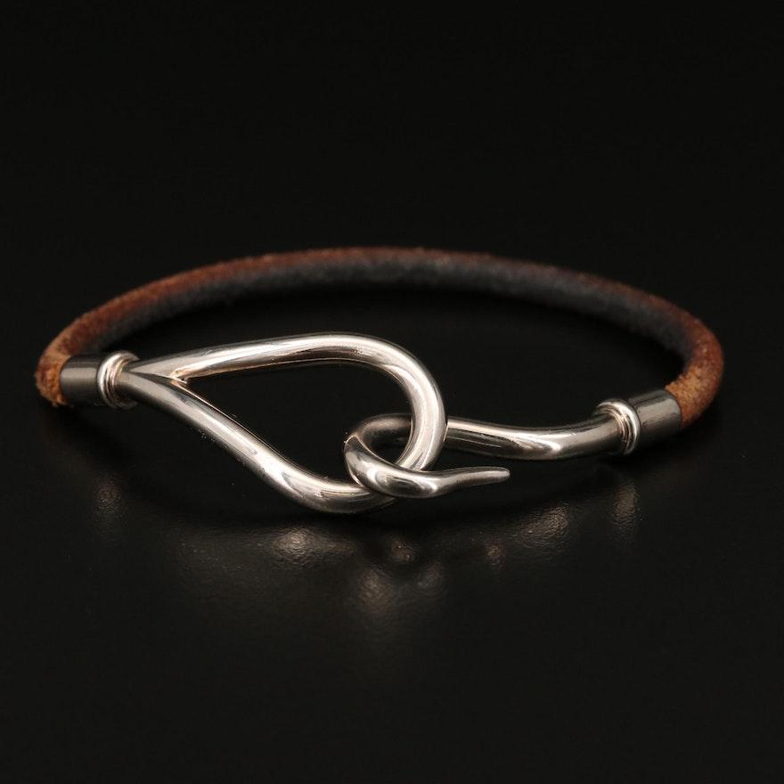 Hermès Jumbo Leather Wrap Hook Bracelet
