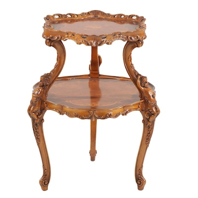 Baroque Style Wood Tiered Table with Parquet Inlay