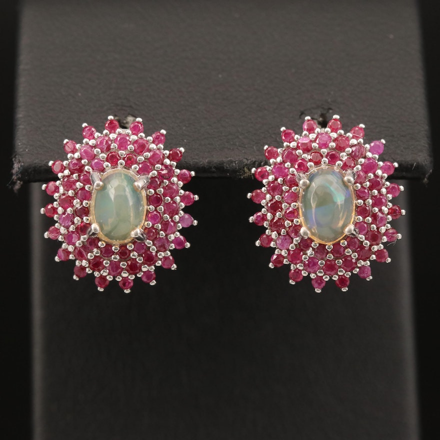 Sterling Opal and Ruby Earrings