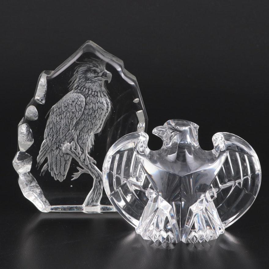 Steuben and Crystal Sarmis Royal Eagle Figurines