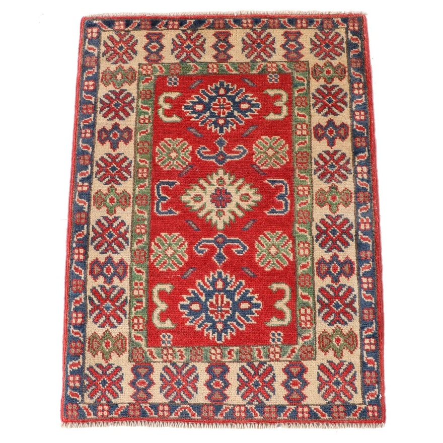 2'1 x 3'0 Hand-Knotted Caucasian Kazak Wool Accent Rug