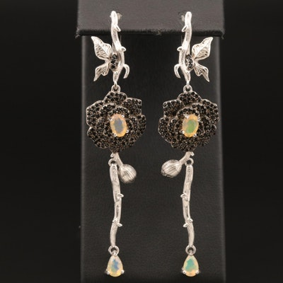 Sterling Opal and Spinel Flower and Branch Earrings