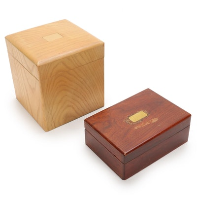 Wooden Table Top Cigarette and Tobacco Boxes, Mid to Late 20th Century