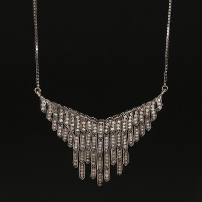 14K 1.16 CTW Diamond Fringe Pendant Necklace Featuring Pink and Brown Diamonds