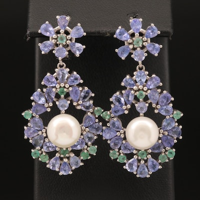 Sterling Pearl, Tanzanite and Emerald Earrings
