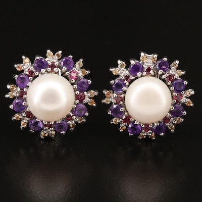 Sterling Silver Pearl, Garnet and Amethyst Earrings