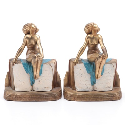 Art Deco Kronheim & Oldenbusch Polychrome Metal Figural Bookends