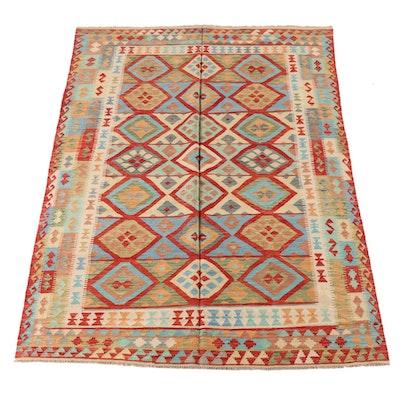 6'10 x 9'9 Handwoven Caucasian Turkish Tribal Kilim Area Rug