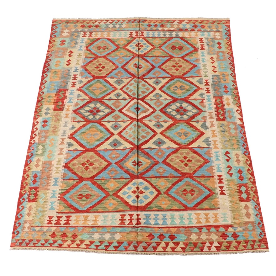 6'10 x 9'9 Handwoven Caucasian Turkish Tribal Kilim Area Rug