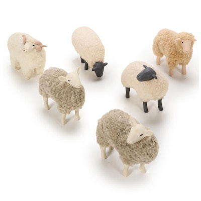 Folk Art Ceramic and Wool Sheep Figurines, Late 20th to 21st Century