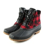 Tommy Hilfiger Casey2 Buffalo Plaid and Black Leather Boots