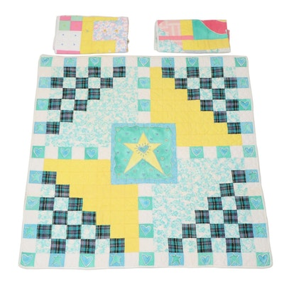 Multi Color Full Quilt with Crib Quilts, 21st Century