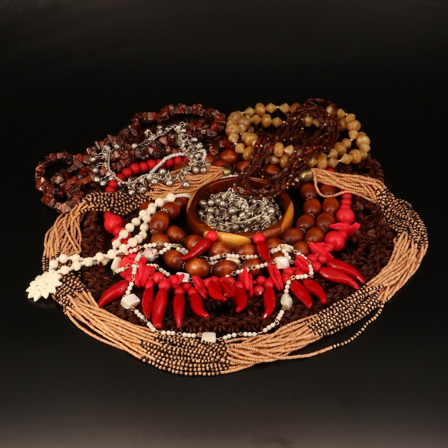 Necklaces, Bracelets and Earrings Including Red Jasper, Shell and More