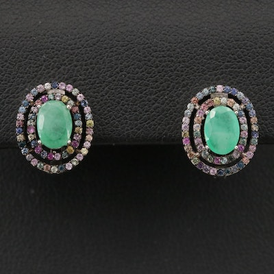Sterling Emerald and Sapphire Double Halo Earrings