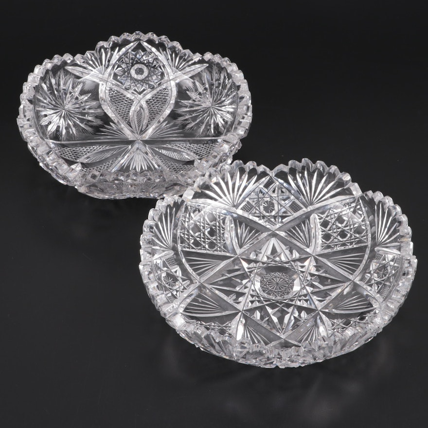 American Brilliant Cut Candy Dishes, Early to Mid 20th Century