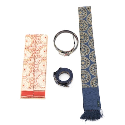 Floral Brocade Obi with Box Including Japanese Style Belt and Other Accessories