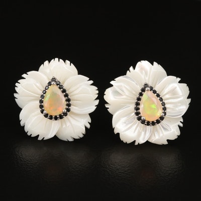 Sterling Carved Mother of Pearl, Opal and Cubic Zirconia Flower Earrings