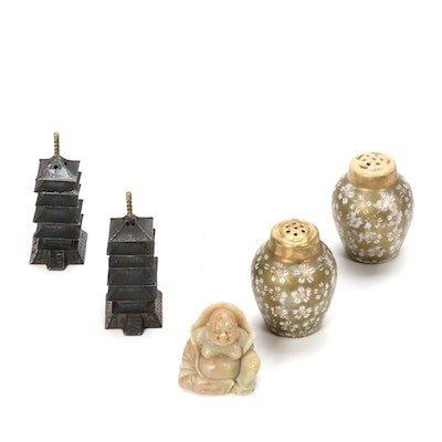 Asian Artisan Salt and Pepper Shakers with a Carved Agate Buddah Figurine