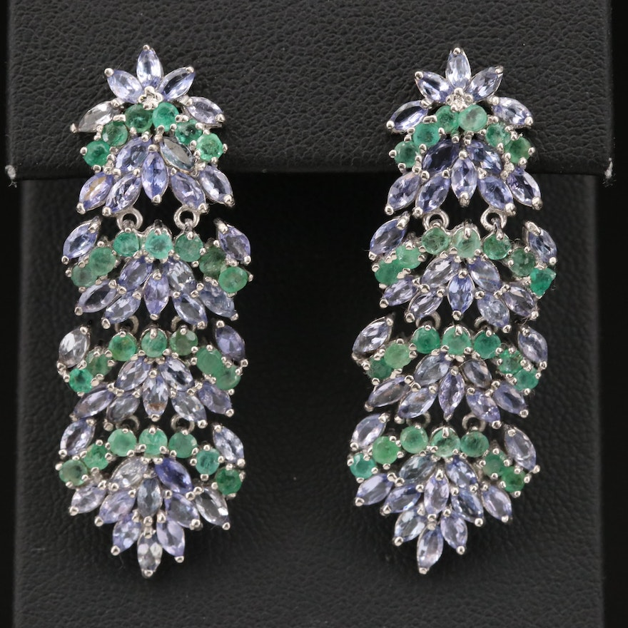 Sterling Tanzanite and Emerald Cluster Foliate Earrings