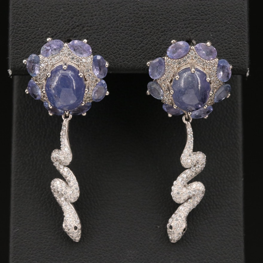 Sterling Tanzanite and Cubic Zirconia Serpent Earrings