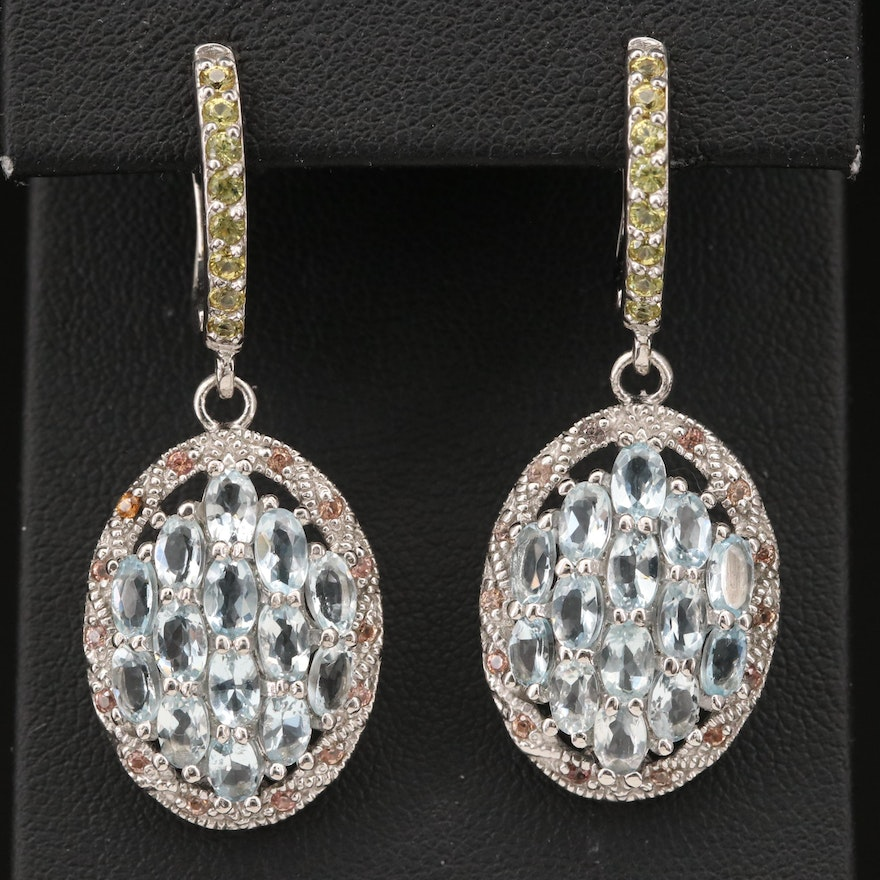 Sterling Aquamarine and Sapphire Cluster Dangle Earrings