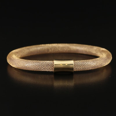 Sterling Silver Flexible Woven Mesh Bangle