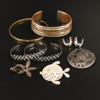 Brooches, Earrings and Bracelets Including Sterling and Enamel
