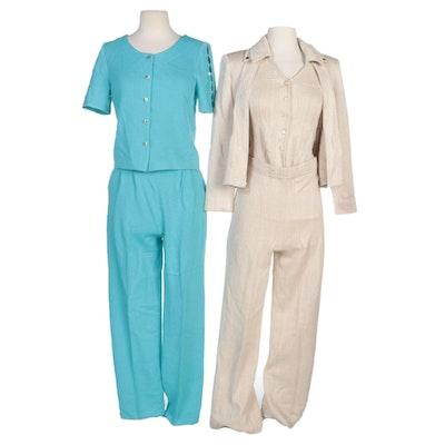 St. John Turquoise Blue and Beige Knit Pant Sets