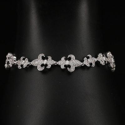 Sterling Silver Cubic Zirconia Fleur de Lis Bracelet