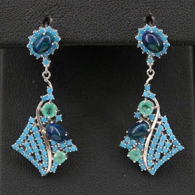 Sterling Opal, Emerald and Spinel Dangle Earrings