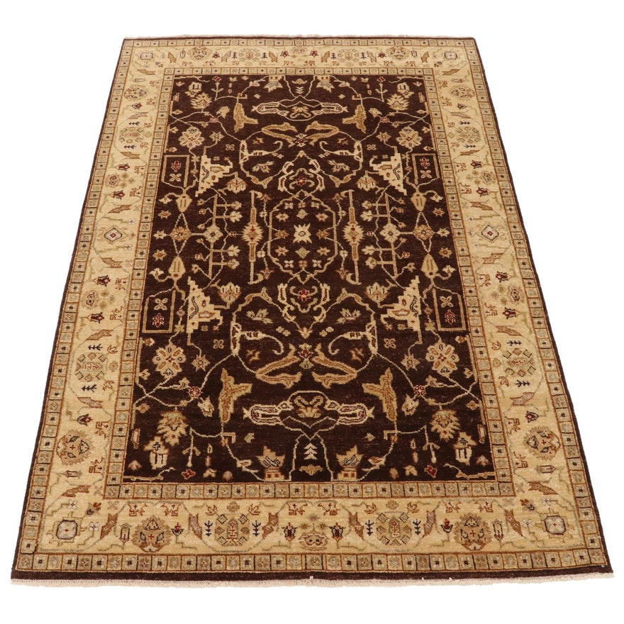 5'11 x 9' Hand-Knotted Afghan Persian Tabriz Area Rug, 2000s