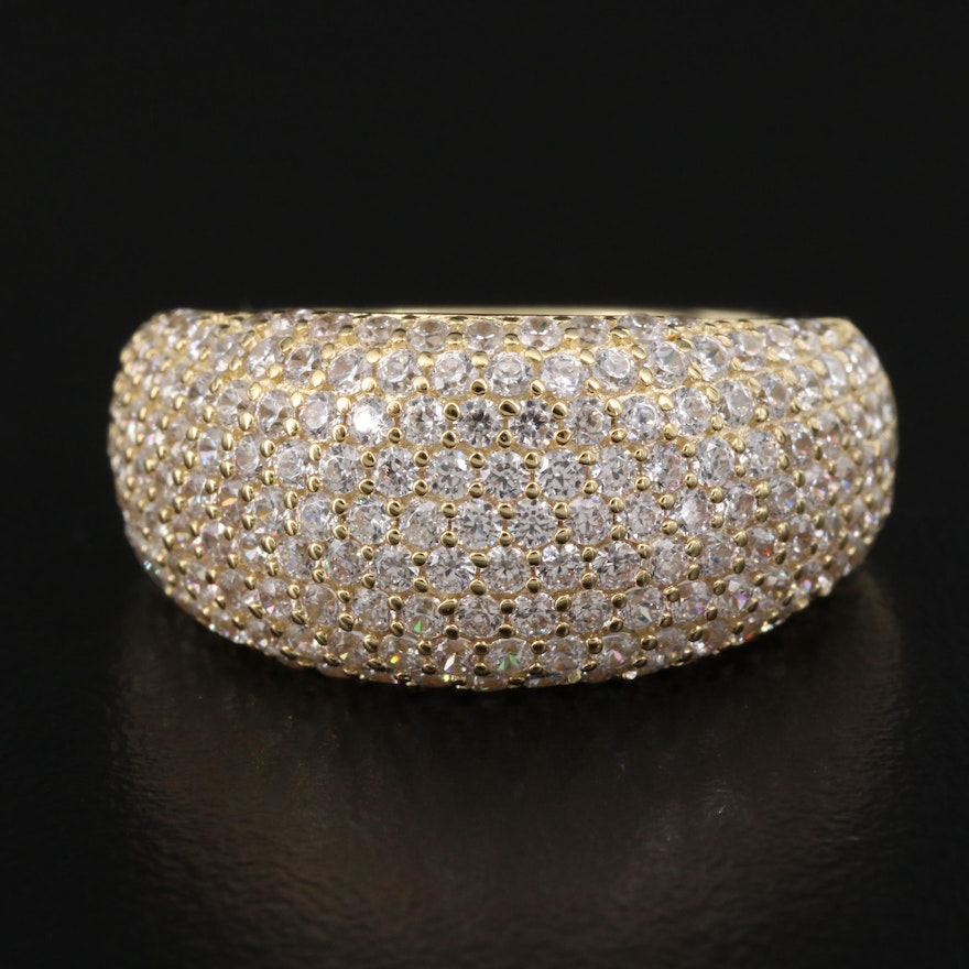 Sterling Silver Pavé Cubic Zirconia Tapered Band