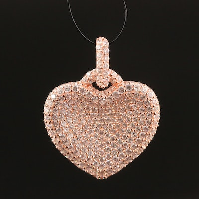 Sterling Silver Pavé Cubic Zirconia Heart Pendant