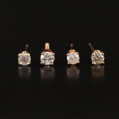 14K 0.42 CTW Diamond Single Stud Earrings