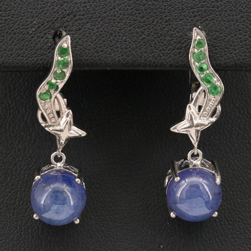 Sterling Tanzanite and Tsavorite Garnet Dangle Earrings