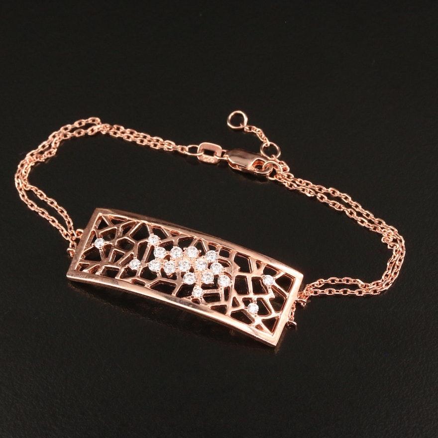 Sterling Cubic Zirconia Accented Openwork Panel Bracelet